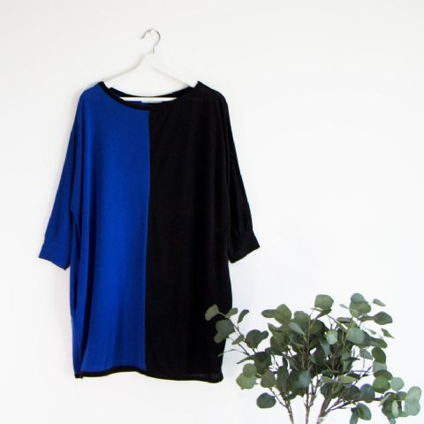 BLUE AND BLACK COLOURBLOCK TUNIC TOP